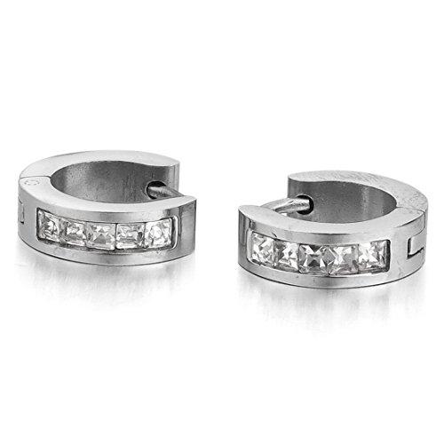 INBLUE Men,Women's Stainless Steel Stud Hoop huggie Earrings CZ Silver Charm Elegant