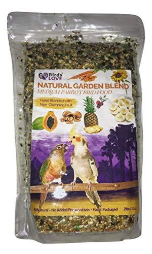 Birds LOVE All Natural Garden Blend Bird Food for Medium Birds - Cockatiels, Green Cheek Conures, Ringneck Parakeets and Small Quakers 2lb