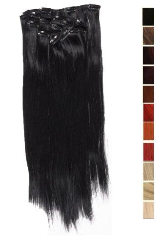 Prettyland - K170 7 teilig 50cm Clip-In glatt Haarteil Haarverlängerung - BK01 tief schwarz