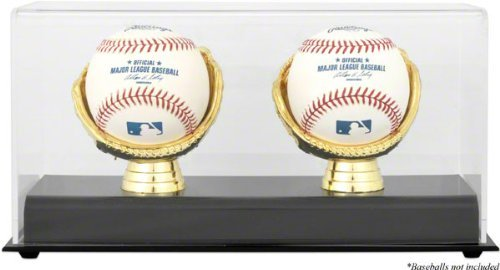 Mounted Memories Gold Glove Double Baseball Display - Memories Mounted Bat Black Baseball
