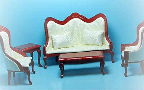Dollhouse Victorian Living Room Sofa and Chairs Cream and Mahogany KL2509 - Miniature Scene Supplies for Your Fairy Garden - Doll House - Outdoor and House ()