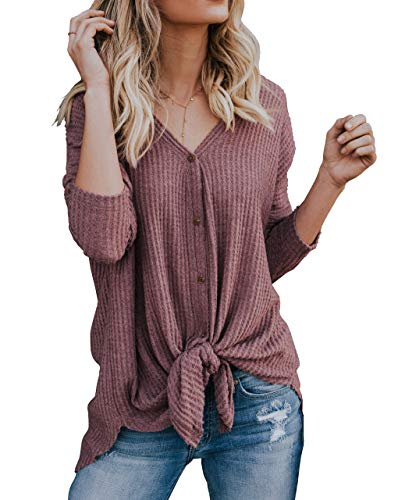 12fddb938d 4 · IWOLLENCE Womens Loose Henley Blouse Bat Wing Long Sleeve Button Down T  Shirts Tie Front Knot