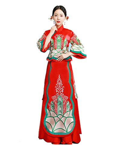 Show Wo Dress Chinese Wedding Dress Traditional Bride Wedding Dress Wedding Cheongsam Tang Suits Full Dress by YY-Bride Wedding Cheongsam