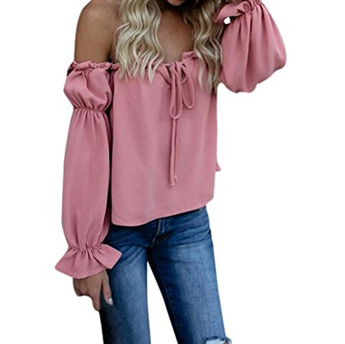 Strapless Ruffle Cotton - Forthery Blouse, 2018 Hot Sale Women's Off Shoulder Solid Chiffon Tie Casual Shirt Tops (Pink, M)