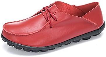 You Are Fashion 女性と男性のローファーフラットヒールレースアップソフト合成皮革カジュアルシューズ古典的な男先のとがったつま先ドレスシューズメンズパテントレザーブラックウェディングシューズ (Color : 赤, サイズ : 23 CM)
