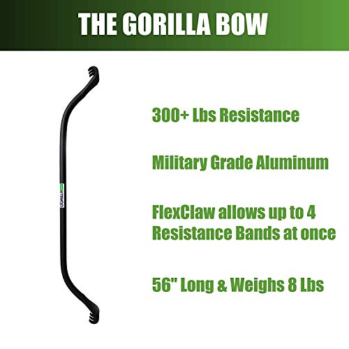 Gorilla Bow Portable Home Gym Resistance Band System - Heavy Set | Weightlifting & HIIT Interval Training Kit | Full Body Workout Equipment (Heavy Set - Black) by Gorilla Fitness (Image #3)