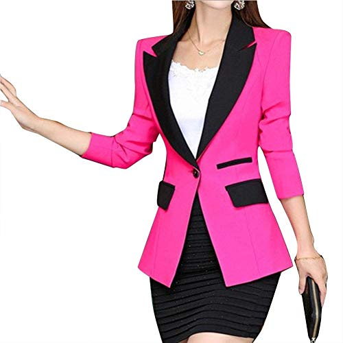 Di Moda Rose Giaccone Tailleur Slim Colore Camicia Fit Outerwear Donna Business Contrasto Lunga Autunno Bavero A Button Manica q6fqwRBp