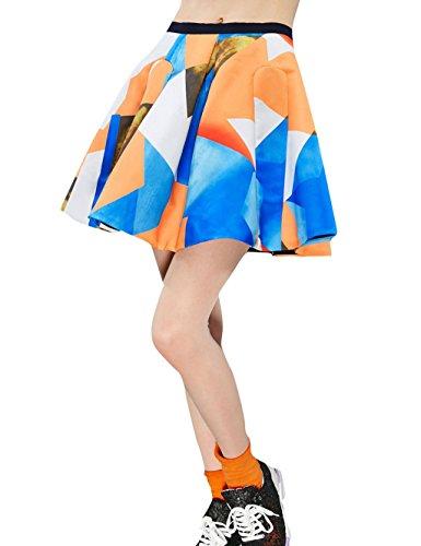 Elf Sack Womens' Spring Skirt Vintage Print A Line Zipper Medium Size Orange