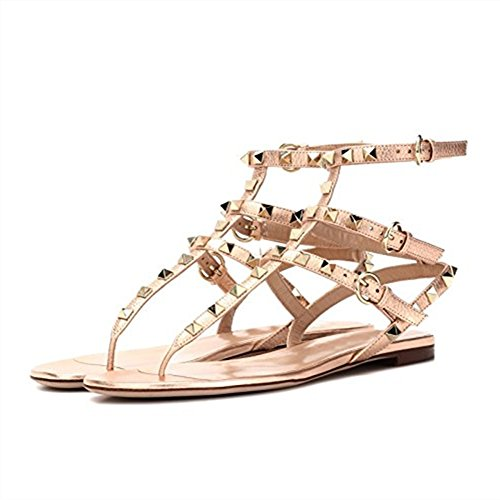 Slide Mid Pan Open Infradito Oro Toe Borchie Heels Donna Slipper 45EU Sandals Dress per con Caitlin 35 Block Heel Sandali Borchie Chunky con 6gxwp88