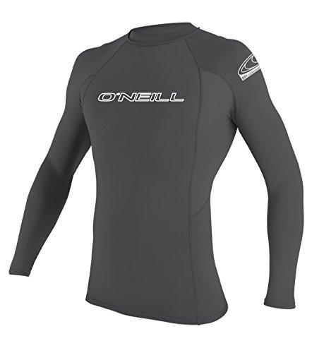 O'Neill Wetsuits UV Sun Protection Mens Basic Skins Long Sleeve Crew Sun Shirt Rash Guard, Smoke, Large