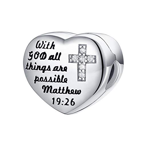 FOREVER QUEEN 925 Sterling Silver CZ Cross Heart Charms with God All Things are Possible Charms Clip Lock Stopper Bead Fit Bracelets,Xmas Gifts for Women and Girls FQ0052 (FQ0052-1)