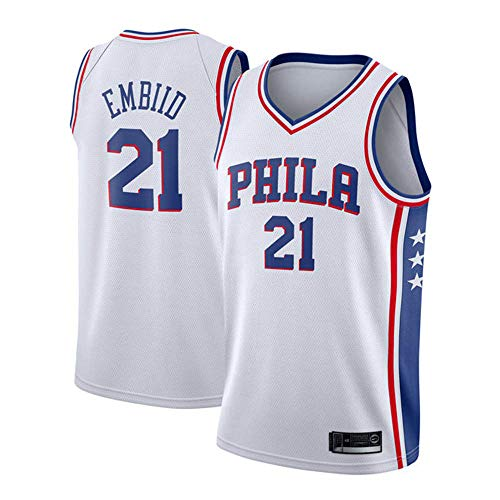 (YDD Basketball Jersey - NBA 76ers 21# Embiid Embroidered Mesh Basketball Swingman Jersey Shirt Training Wear for Boys & Girls,Whites(50~65kg))