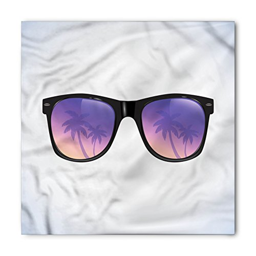 Lunarable Unisex Bandana, Summer Palm Tree on the Sunglasses, Purple Black -