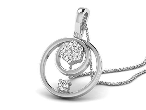Or Blanc 9 ct Pendentifs Diamant en forme de rond, 0.14 Ct Diamant, GH-SI, 0.85 grammes.