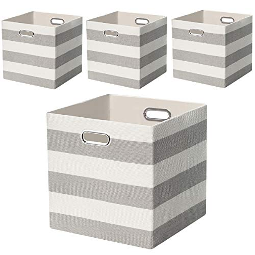 (Posprica Storage Bins Storage Cubes, 13×13 Fabric Storage Boxes Baskets Containers Drawers for Nurseries,Offices,Closets,Home Décor - 4pcs,Grey-White Striped)