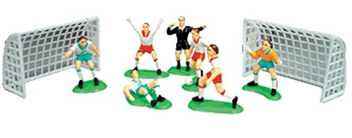 A1 Bakery Supplies Cake Decorating Kit CupCake Decorating Kit (Soccer Team(7 Players 2 Goals)) (Mini Soccer Cake Topper)
