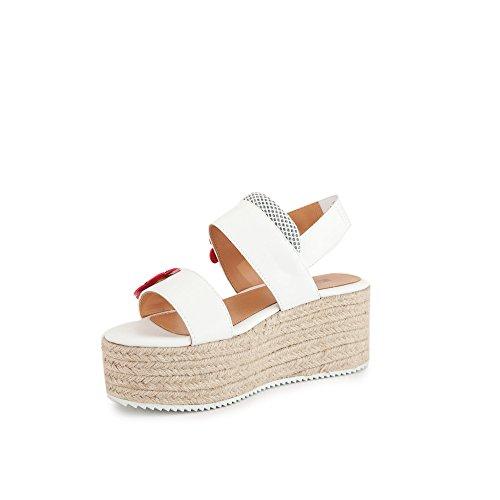 2018 Blanc Printemps Compensées Moschino Love été Chaussures Femme Sandales qwx8TYX6