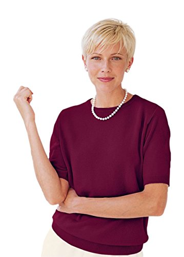 The Tog Shop Womens Petite Spindrift Short-Sleeve Shell - P-L Black Cherry