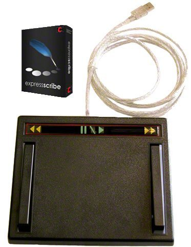 USB Transcription Foot Pedal, 3 Function with Express Scribe Software