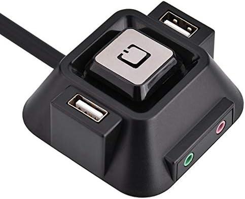 Interruptor de la caja de la computadora de escritorio Caja de la computadora de escritorio Interruptor 2 Puertos USB Botón de reinicio de alimentación Puerto de micrófono de audio para cafés de