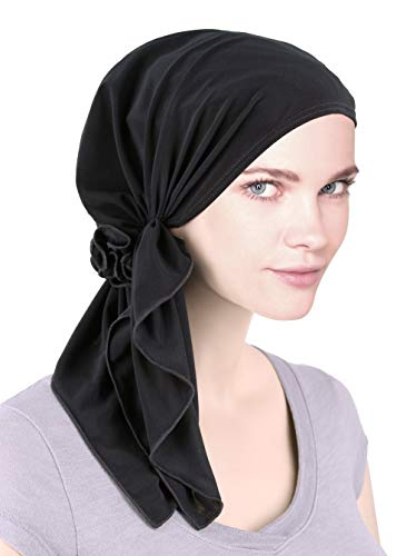 The Bella Scarf Chemo Turban Head Scarves Pre-Tied Bandana for Cancer Raven Black