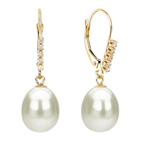 14K Gold Freshwater Cultured White Pearl Earrings Diamond Leverbacks Bridal Jewelry 1/10 CTTW (Bridal Diamond Jewelry)