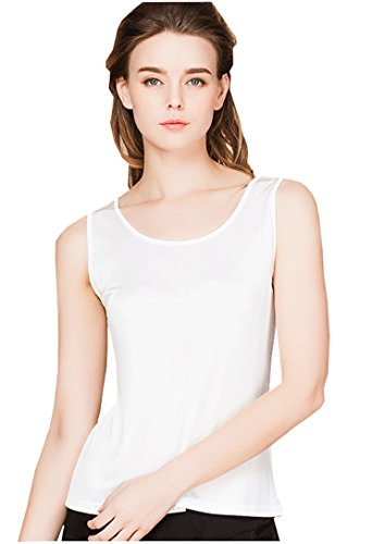 (METWAY Women's Shirts Classic Silk Sleeveless Tank Tops Medium White)