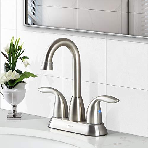 Bathroom Faucet Brushed Nickel 4 Inch - AOSGYA Two Handle Centerset Bathroom Sink Faucet for Lavatory Vanity Basin cUPC Certified Lead-Free -
