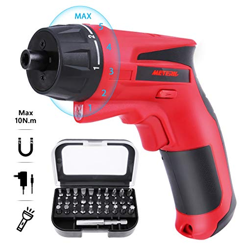 Cordless Electric Screwdriver, Meterk 10 N.m Rechargeable Power Screwdriver with 6-Torque Settings, LED Light, 7.2V 1500mAh Lithium Battery, 31 Screw Bits