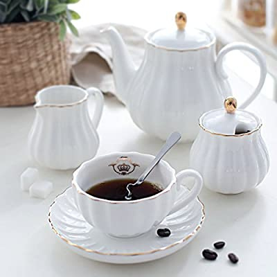 Porcelain Tea Cup Set Royal Series, 8 OZ Cups Service for 6, with Teapot Sugar pot Teaspoons and Filter for Tea/Coffee Party, Pukka Home