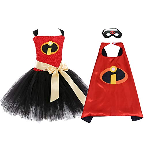 Girls Super Hero Violet Costumes Halloween Incredibles Dress Outfits, Medium ()
