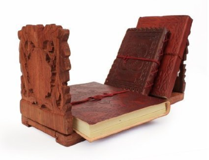 IndiaBigShop Handmade Wooden Expandable & Foldable Book Stand With Intricate Floral Carvings ( Hand Carved) 13 x 6 x 5 Inches