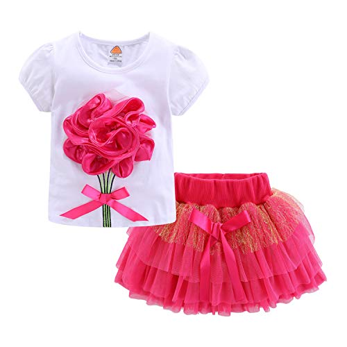 Mud Kingdom Outfits for Baby Girls Summer 24 Months Rose Red Flower