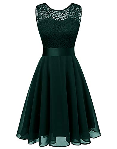 (BeryLove Women's Short Floral Lace Bridesmaid Dress A-line Swing Party DressBLP7005DarkGreenL)