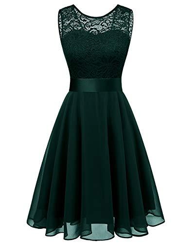 BeryLove Women's Short Floral Lace Bridesmaid Dress A-line Swing Party DressBLP7005DarkGreenM