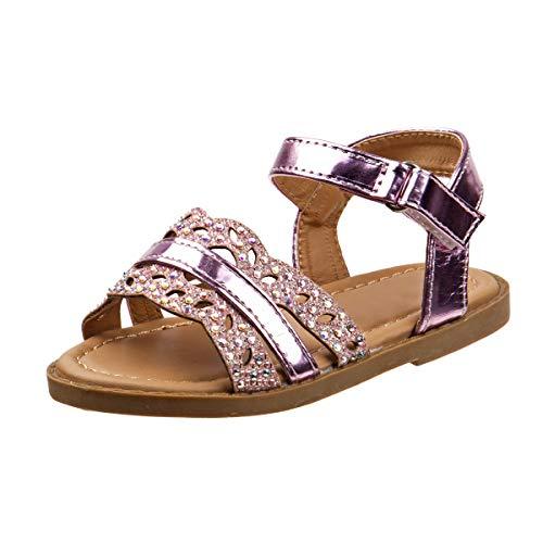 (Rugged Bear Girls Metallic Stripe & Iridescent Glitter Strap Sandals, Pink, Size 5 M US Toddler)