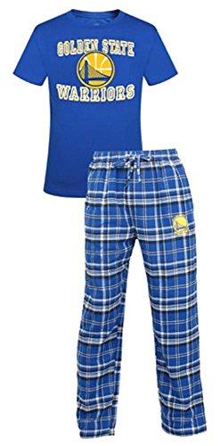 Concepts Sport Golden State Warriors NBA Men's Shirt and Pajama Pants Flannel PJ Sleep Set Large 36-38 -