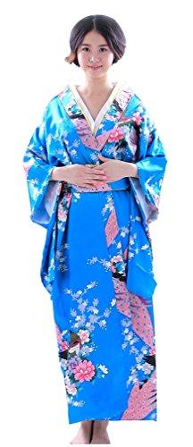 Botanmu Womens Kimono Robe Japanese Dress Photography Cosplay Costume 5 Colors (Sky Blue)
