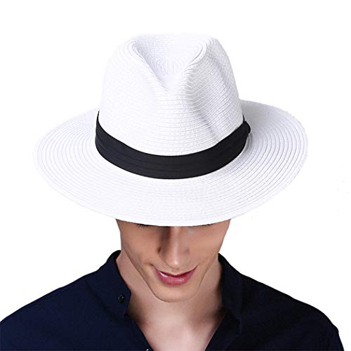 (Taylormia Mens UPF 50+ Wide Brim Panama Straw Hat Foldable Beach Sun Hat White)