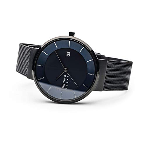 BERING Time 14639-227 Solar Collection Slim Watch with Mesh Strap and Scratch Resistant Sapphire Crystal. Designed in Denmark