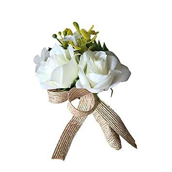 Skareop Broche fleur /à la boutonni/ère pour le bal de mariage Fleur Broche pour la mari/ée et le mari/é portant la d/écoration de mariage occasions formelles