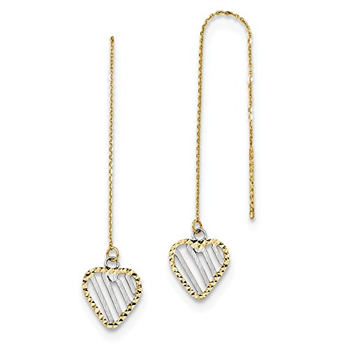 - 14K Yellow Gold Two-tone Polished Satin and Diamond-cut Heart Threader Earrings from Roy Rose Jewelry