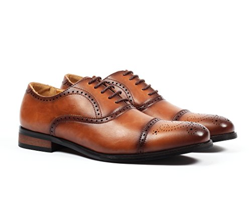 Santino Luciano Gino Men's Cap-Toe Brogue Dress Shoes