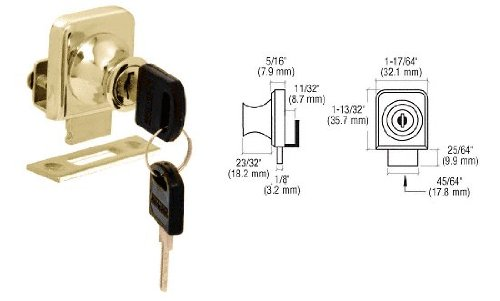 CRL Gold Plated Lock for 1/4 Cabinet Glass Doors - Keyed Alike C.R. Laurence