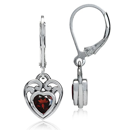 1.06ct. Natural Heart Shape Garnet 925 Sterling Silver Filigree Leverback Earrings