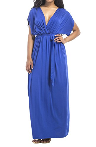 Cheap Fancy Dress Outfits (KAY SINN Womens Plus Size V-Neck Evening Party Maxi Dress 3X-Large Royal Blue)