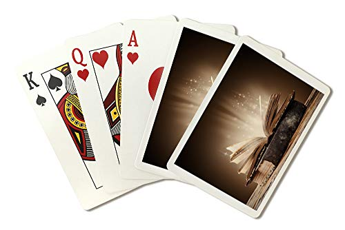 (Magical Books on Rustic Wooden Table Photography A-91033 (Playing Card Deck - 52 Card Poker Size with Jokers))