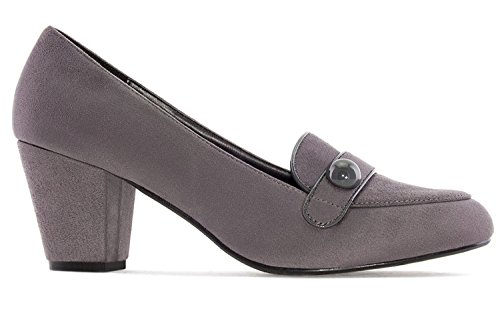 Schuhe Damen in Übergrößen Mokassin Grau Pumps Andres Machado Stil YqABB4