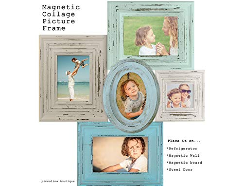 Piccolina Boutique Magnetic Collage Handmade Picture Frame Blue & Brown Picture Vintage Home Decor Picture Frame, Family Picture, Anniversary Pictures, Birthday Pictures, House warming Gift - Illusions Photo Wall