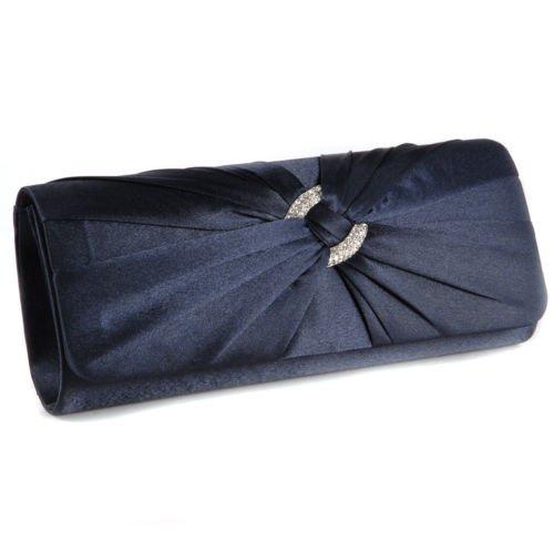 The Pecan Man Navy Blue Satin Pleated Designer Ladies Wedding Bridal Prom Clutch Evening Bag Handbag (Kors Thailand Store Michael)